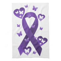 Purple Awareness Ribbon Hand Towel