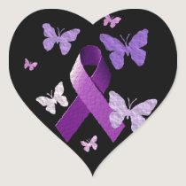 Purple Awareness Ribbon Heart Sticker