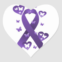 Purple Awareness Ribbon Heart Sticker