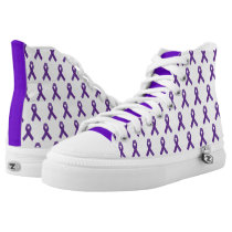 Purple Awareness Ribbon High-Top Sneakers