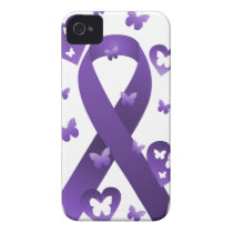 Purple Awareness Ribbon iPhone 4 Case