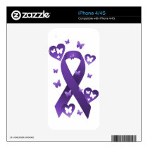 Purple Awareness Ribbon iPhone 4 Skins