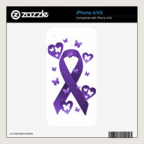 Purple Awareness Ribbon iPhone 4 Skins