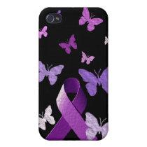 Purple Awareness Ribbon iPhone 4 Case