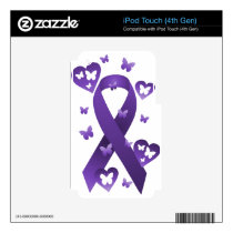 Purple Awareness Ribbon iPod Touch 4G Skins