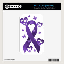 Purple Awareness Ribbon iPod Touch 4G Skins