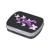 Purple Awareness Ribbon Jelly Belly Candy Tin