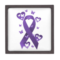 Purple Awareness Ribbon Jewelry Box