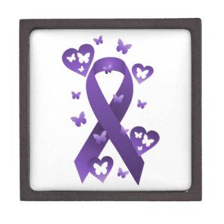 Purple Awareness Ribbon Jewelry Box