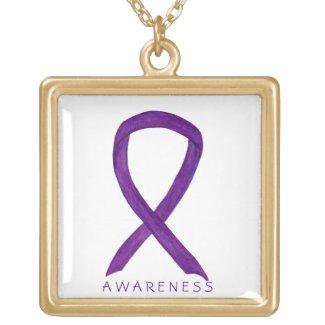 Purple Awareness Ribbon Jewelry Necklace