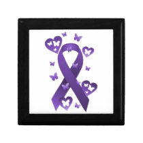 Purple Awareness Ribbon Keepsake Box
