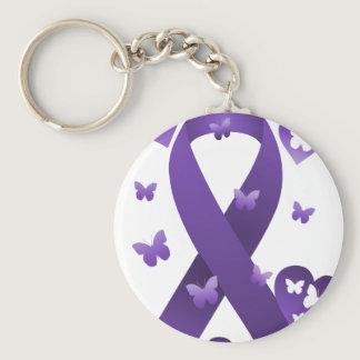 Purple Awareness Ribbon Keychain