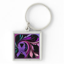 Purple Awareness Ribbon Keychain