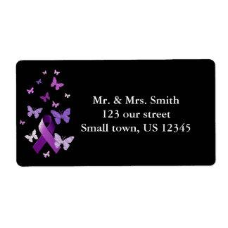 Purple Awareness Ribbon Shipping Label