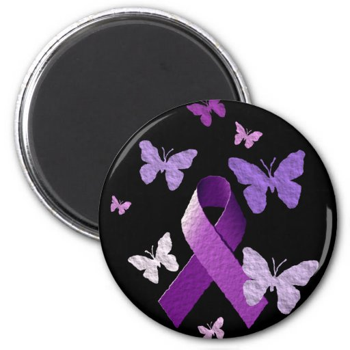 Purple Awareness Ribbon Refrigerator Magnets