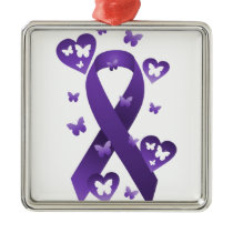 Purple Awareness Ribbon Metal Ornament