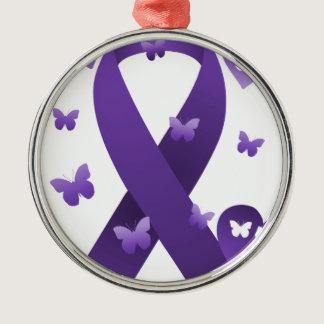 Purple Awareness Ribbon Metal Ornament