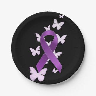 Purple Awareness Ribbon Paper Plate