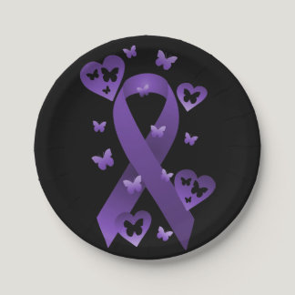 Purple Awareness Ribbon Paper Plate