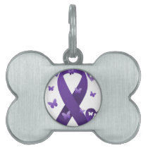 Purple Awareness Ribbon Pet Tag
