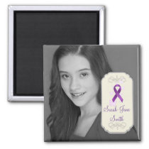 Purple Awareness Ribbon Photo Keepsake Magnet