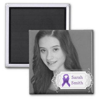 Purple Awareness Ribbon Photo Keepsake Fridge Magnet