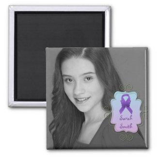 Purple Awareness Ribbon Photo Keepsake Magnet