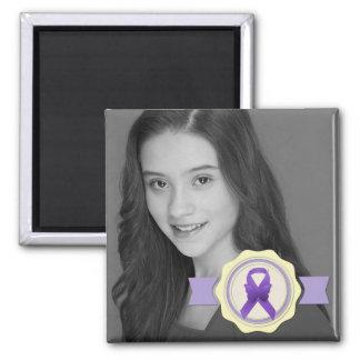 Purple Awareness Ribbon Photo Keepsake Refrigerator Magnets
