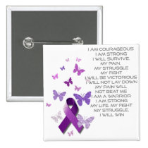 Purple Awareness Ribbon/poem Pinback Button