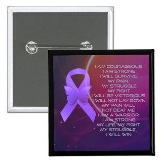 Purple Awareness Ribbon/poem Pinback Button