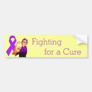 Purple Awareness Ribbon Rosie the Riveter Bumper Sticker
