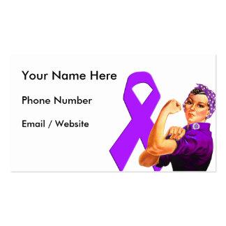Purple Awareness Ribbon Rosie the Riveter Business Card