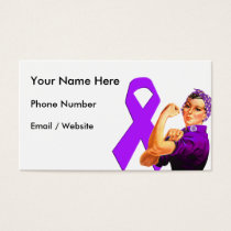 Purple Awareness Ribbon Rosie the Riveter Business Card