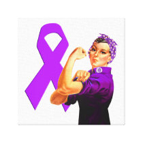 Purple Awareness Ribbon Rosie the Riveter Canvas Print