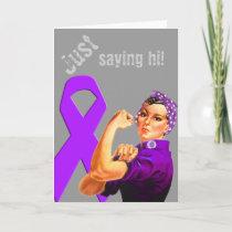 Purple Awareness Ribbon Rosie the Riveter Card