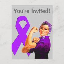 Purple Awareness Ribbon Rosie the Riveter Invitation Postcard