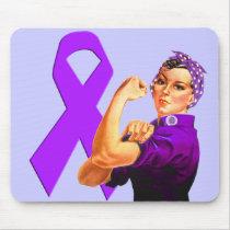 Purple Awareness Ribbon Rosie the Riveter Mouse Pad