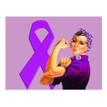 Purple Awareness Ribbon Rosie the Riveter Postcard