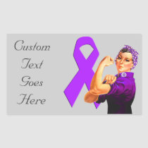 Purple Awareness Ribbon Rosie the Riveter Rectangular Sticker