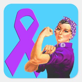 Purple Awareness Ribbon Rosie the Riveter Square Sticker