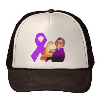 Purple Awareness Ribbon Rosie the Riveter Trucker Hat