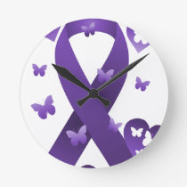Purple Awareness Ribbon Round Clock