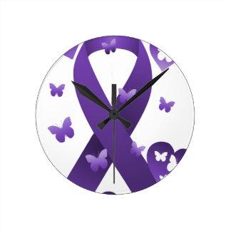 Purple Awareness Ribbon Round Clock