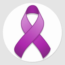 Purple Awareness Ribbon Round Sticker