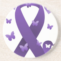 Purple Awareness Ribbon Sandstone Coaster
