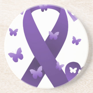 Purple Awareness Ribbon Sandstone Coaster