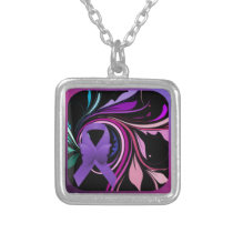 Purple Awareness Ribbon Silver Plated Necklace