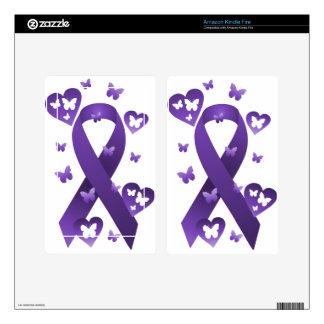 Purple Awareness Ribbon Kindle Fire Skin