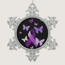 Purple Awareness Ribbon Snowflake Pewter Christmas Ornament