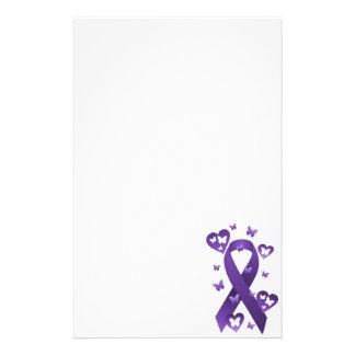 Purple Awareness Ribbon Stationery